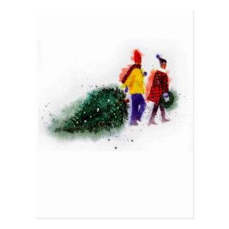 Cartão Postal família que puxa a parte 1 de árvore de Natal