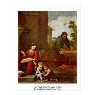 Cartão Postal Família santamente com o St John infantil