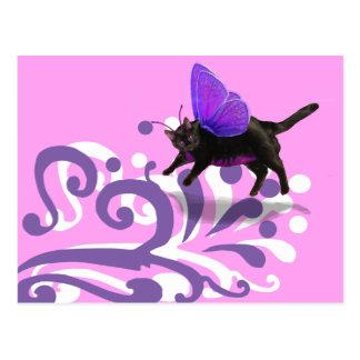 Cartão Postal Fantacy roxo da fada do gatinho da lavanda