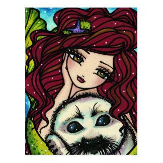 Cartão Postal Fantasia branca da arte da sereia do selo dos