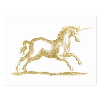 Cartão Postal Fantasia do unicórnio do brilho do ouro