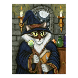 Cartão Postal Fantasia mágica do feiticeiro do gato do