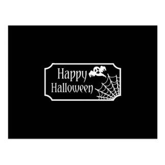 Cartão Postal Fantasma preto e branco e Spiderweb do Dia das