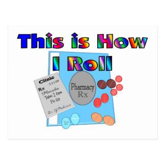 Cartão Postal Farmacêutico COMO EU ROLO gráficos originais