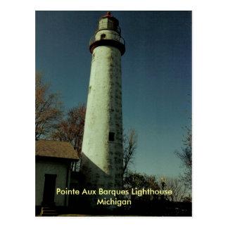 Cartão Postal Farol auxiliar dos Barques de Pointe, Michigan