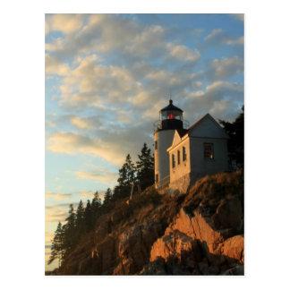 Cartão Postal Farol baixo do porto do parque nacional do Acadia