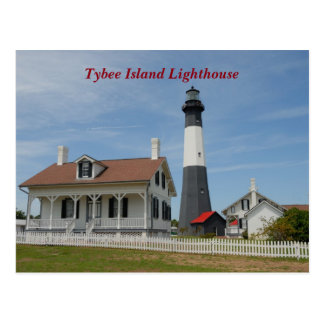 Cartão Postal Farol da ilha de Tybee, Geórgia