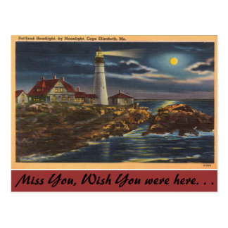 Cartão Postal Farol de Maine, Portland, cabo Elisabeth