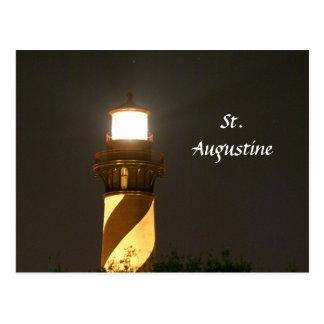 Cartão Postal Farol de St Augustine na noite