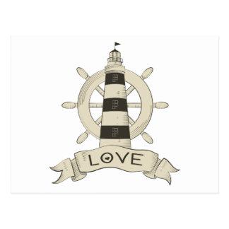 Cartão Postal Farol de Tan do amor & âncora náuticos do navio