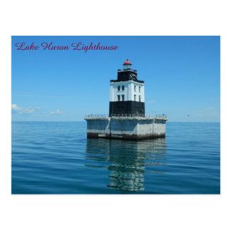 Cartão Postal Farol do Lago Huron - recife do ponto de entrada