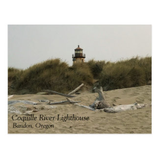 Cartão Postal Farol do rio de Coquille, vista da praia