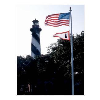 Cartão Postal Farol e Flages de St Augustine