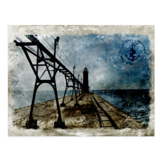 Cartão Postal Farol grande do abrigo do vintage