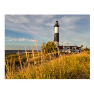 Cartão Postal Farol grande do ponto do Sable no Lago Michigan