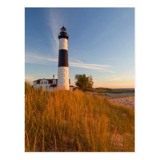Cartão Postal Farol grande do ponto do Sable no Lago Michigan 3