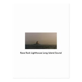 Cartão Postal Farol Long Island Sound da rocha da raça