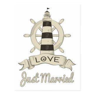 Cartão Postal Farol & navio náuticos do casamento do recem