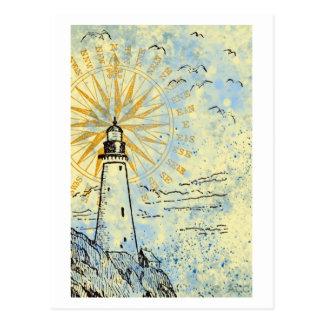Cartão Postal Farol no penhasco, pulverizador de mar do oceano,