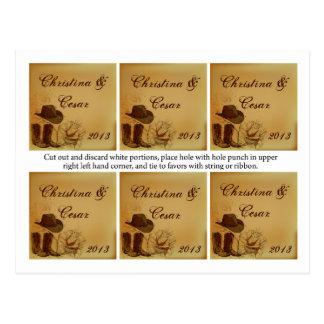 Cartão Postal Favoreça Tag Assorted o chapéu da vaqueira/testa