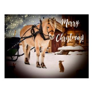 Cartão Postal Fazenda da noite estrelado do Feliz Natal com neve