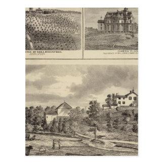 Cartão Postal Fazenda, vinhedo e residências em Cedar County