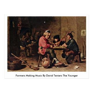 Cartão Postal Fazendeiros que fazem a música por David Teniers o