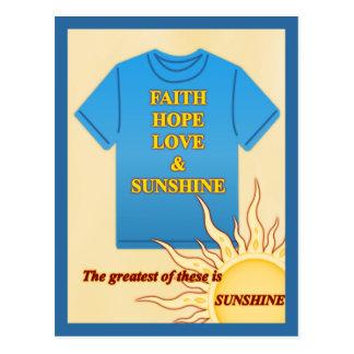 Cartão Postal Fé, esperança, amor & luz do sol
