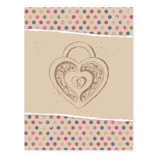 Cartão Postal Fechamento do coração com polkadots