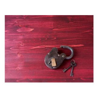 Cartão Postal Fechamento velho e chaves da forma