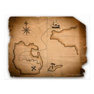 Cartão Postal Feche acima do mapa do mundo antigo com rota de