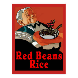 Cartão Postal Feijões vermelhos & arroz, garçom do vintage