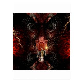 Cartão Postal Feiticeiro abstrato da fantasia desencadeado
