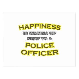 Cartão Postal Felicidade. Acordar. Agente da polícia