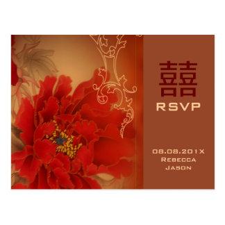 Cartão Postal Felicidade vermelha RSVP wedding chinês do dobro