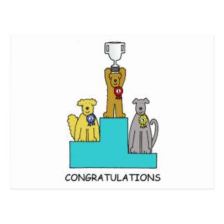 Cartão Postal Felicitações do sucesso da exposição de cães