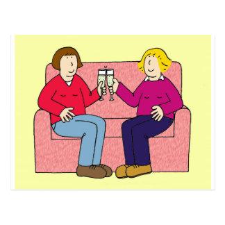 Cartão Postal Felicitações lésbicas do aniversário