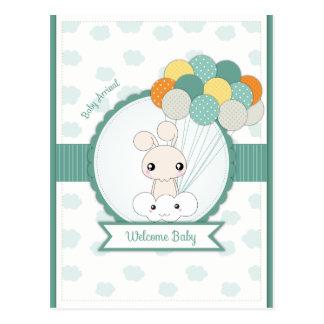 Cartão Postal Felicitações novas do bebê dos coelhos do amor