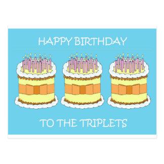 Cartão Postal Feliz aniversario às objectivas triplas