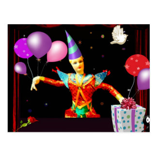 Cartão Postal feliz aniversario clown1