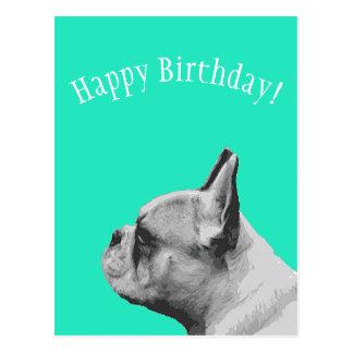 Cartão Postal Feliz aniversario colorido Aqua do Pug |