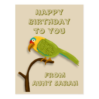 Cartão Postal Feliz aniversario, com o papagaio colorido na vara
