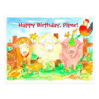 Cartão Postal Feliz aniversario de animais de fazenda