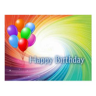 Cartão Postal Feliz aniversario do Vortex do arco-íris