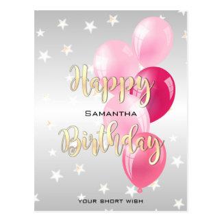Cartão Postal Feliz aniversario estrelado à moda e balões