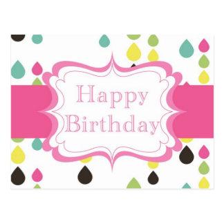 Cartão Postal Feliz aniversario (gotas do rasgo)