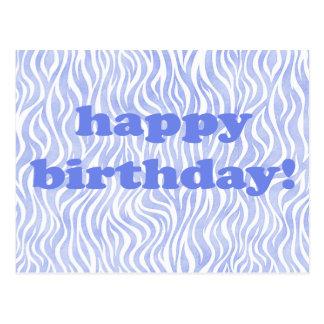 Cartão Postal feliz aniversario! Impressão azul da zebra da