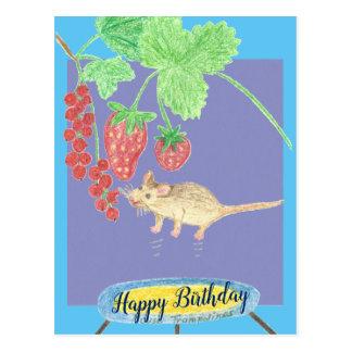 Cartão Postal Feliz aniversario - rato em um trampolim