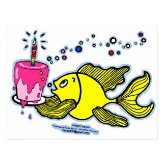 Cartão Postal Feliz aniversario, Sparky com um bolo e uma vela