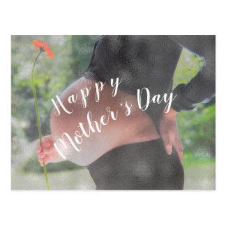 Cartão Postal Feliz dia das mães da foto da mulher gravida